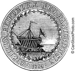 Seal of the State of New Hampshire, vintage engraved ...