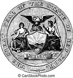 Seal of the State of New York, vintage engraved illustration