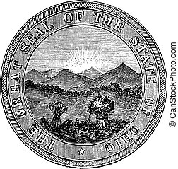 Seal of the State of Ohio. vintage engraving