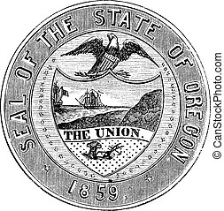 Seal of the State of Oregon, vintage engraving - Seal of the...