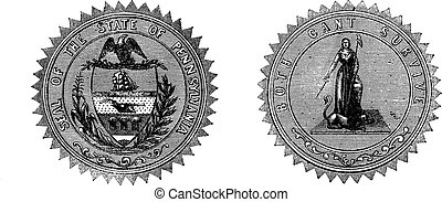 Seal of the State of Pennsylvania USA vintage engraving