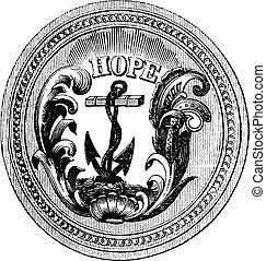 Seal of the State of Rhode Island USA vintage engraving -...