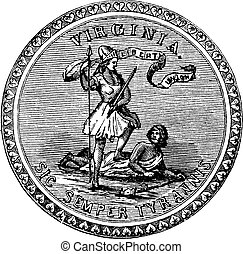 Seal of the State of Virginia, USA, vintage engraving