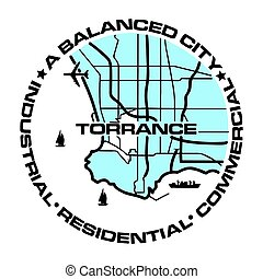 Seal of Torrance, California, USA. Vector Format.