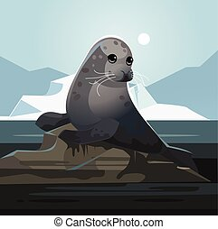 Seal stained with oil. Pollution environment concept. Vector...