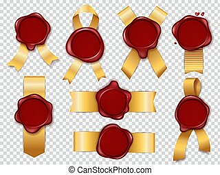 Seal stamps. Red wax elements with golden ribbon for secret confidential documents or decorative certificate vector set