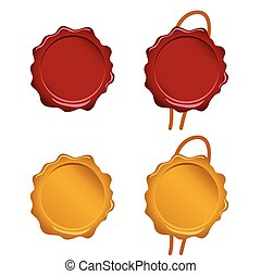 seal wax set in red and gold color illustration