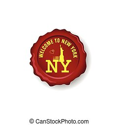 seal wax with symbol of new york on it illustration