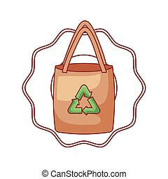 seal with ecological paper bag isolated icon