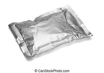 Sealed aluminum bag lying on white background
