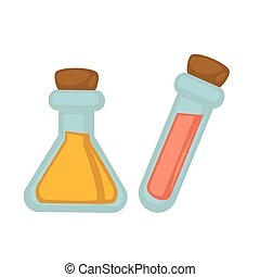 Sealed glass flasks with colorful dangerous reagents illustration