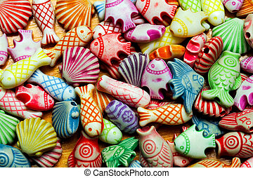 Sealife beads - Colourful assortment of shell and fish ...