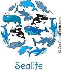 sealife, cartaz, oceânicos, vetorial, mar, peixes