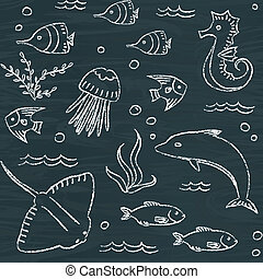 Sealife chalkboard seamless pattern