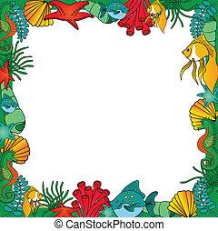 Sealife frame green - vector illustration.