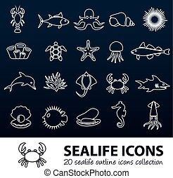 sealife outline icons