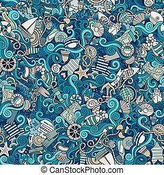 sealife, padrão, marinho, seamless