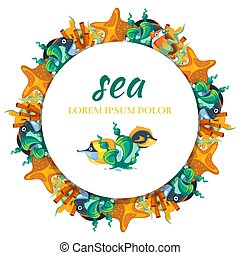 Sealife round banner design - banner with cartoon seaweeds and fish