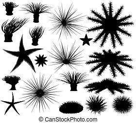 Set of editable vector silhouettes of sea lifeforms