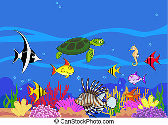 Sealife - Vector illustration of sealife cartoon