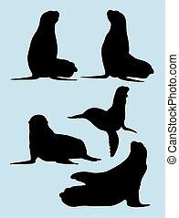 Sealion silhouettes 01.