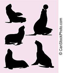 Sealion silhouettes 02.