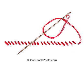 Seam And Needle - Needle with red thread and seam on white...