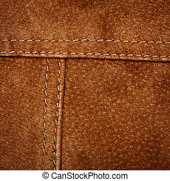 Seam on suede product - Scratched worn suede texture with...