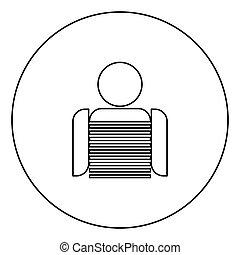 Seaman black icon outline in circle image