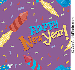 Seamess New Year - Seamless Illustration Featuring Rockets, ...