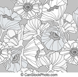 Seamles flower poppy pattern