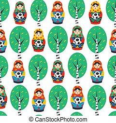 Seamles pattern with Russian Matrioshka, birch and football...