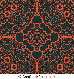 Seamles tribal Tibet like art pattern. Red symmetry lines over green background