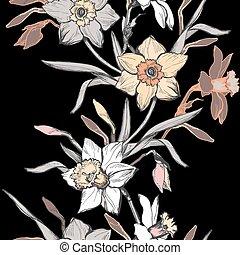 seamles, verticale, fiori, bordo, floreale, tromboni, mano, disegnato, narciso