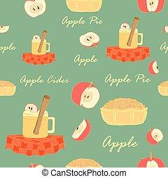 seamless, à, cidre pomme, pommes, et, tarte aux pommes