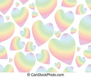 seamless, à, coloré, arc-en-ciel, coeur