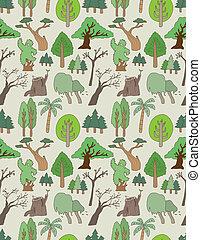 seamless, árvore, padrão