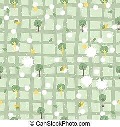 seamless, árvores., fores/woods, padrão, simples