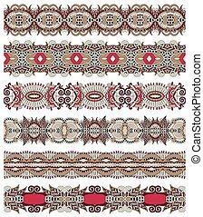 seamless, étnico, floral, cachemira, raya, patrón, frontera, conjunto, ukrai