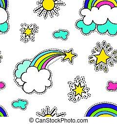 seamless, étoile, arc-en-ciel, soleil, modèle, nuages