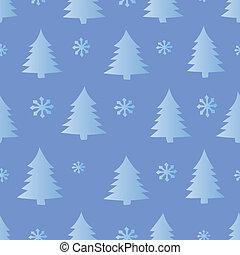 seamless, śnieg, i, drzewa