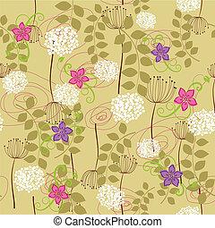 seamless, άγριο ραδίκι , και , λουλούδι , ταπετσαρία