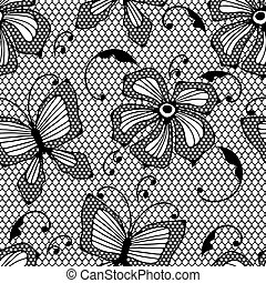 seamless, δαντέλλα , πρότυπο , με , πεταλούδες , και , flowers.