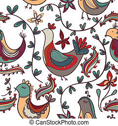 seamless, πλοκή , με , λουλούδια , και , πουλί