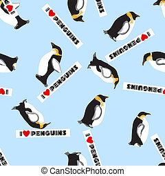 seamless, πλοκή , με , πιγκουίνος , και , ένα , καρδιά