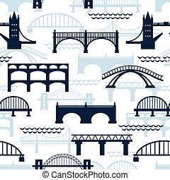 seamless, πρότυπο , από , γέφυρα , απεικονίζω σε σιλουέτα