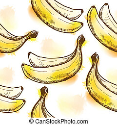 seamless, πρότυπο , με , μπανάνα
