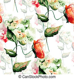 seamless, πρότυπο , με , υδραγεία , και , παπαρούνα , λουλούδια