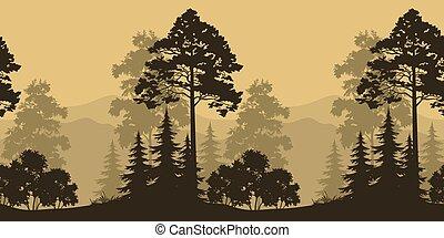 seamless, τοπίο , δέντρα , και , βουνό , απεικονίζω σε σιλουέτα