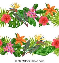 seamless, אופקי, גבולות, עם, טרופי, צמחים, עוזב, ו,...